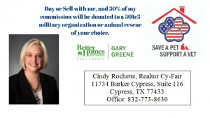 2017, 2015 - Cindy Rochette, Realtor Cy-Fair is a Gold - level annual sponsor of The Forgotten Pet Advocates.